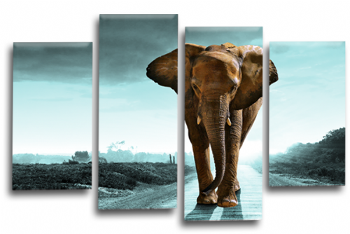 Sunset African Elephant Landscape Grey Teal Wall Art Picture Print